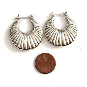 Vintage Jewelry - Sterling Silver Hoop Earrings Thick 925